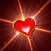 Shining red heart — Stock Photo