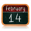 Stock Photo: February 14 on blackboard banner