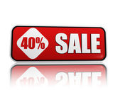 40 percentage off sale red banner — Stock Photo