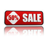 50 percentage off sale red banner — Stock Photo