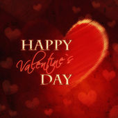 Happy valentines day in red heart retro card — Stock Photo