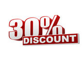 30 percentages discount red white banner - letters and block — Stock Photo