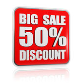 Big sale 50 percentages discount red banner — Stock Photo