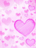 Striped hearts on pink old paper — Stock Photo