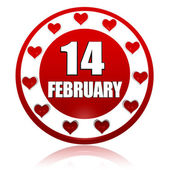 February 14 red circle banner with hearts symbols — Stock Photo