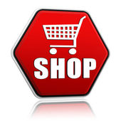 Shopping cart sign with word shop hexagon banner — Stock Photo