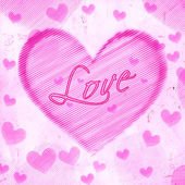 Love in striped heart on pink old paper — Stock Photo