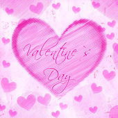 Valentines day in striped heart on pink old paper — Stock Photo