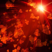 Orange hearts with lights — Stock Photo