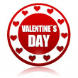 Valentines day red circle banner with hearts symbols — Stock Photo #18968341