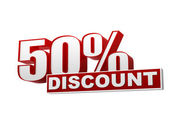50 percentages discount red white banner - letters and block — Stock Photo