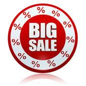 Kırmızı daire büyük büyük satış ile yüzde simgeleri — Stok fotoğraf