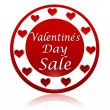 Valentines day sale red circle banner with hearts symbols — Stock Photo #19034939