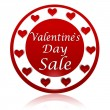 Valentines day sale red circle banner with hearts symbols — Stock Photo