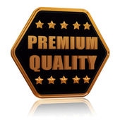 Premium quality five star hexagon button — Stock Photo