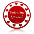 Valentine special red circle banner with hearts symbols — Stock Photo