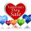 Valentines day sale and different percentages rebate in hearts b — Stock Photo #19236375