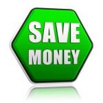 緑の六角形のバナーでお金を節約します。 — ストック写真