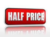 Half price in red banner — Stock Photo