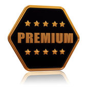 Premium five star hexagon button — Stock Photo