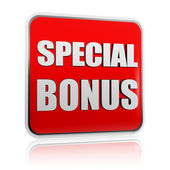 Special bonus in red banner — Stock Photo