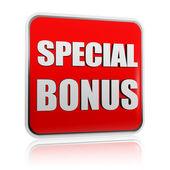 Special bonus in red banner — Stock Photo