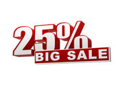 25 percentages big sale red white banner - letters and block — Stock Photo