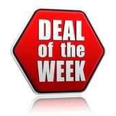 Deal of the week in red hexagon — Stock Photo