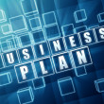 Business plan in blue glass blocks — Stock Photo #19400665