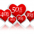 Different percentages off discount in red hearts banners - Stok fotoğraf