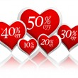 Different percentages off discount in red hearts banners — Stock Photo