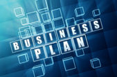 Business plan in blue glass blocks — Stock Photo