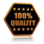 100 percentages quality five star hexagon button — Stock Photo
