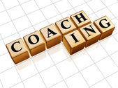 Coaching in golden cubes — Stock Photo