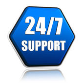 24 7 support hexagon button — Stock Photo