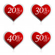 Different percentages off discount in red hearts buttons — Stock Photo #19816183