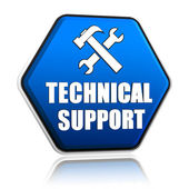 Technical support and tools sign in hexagon button — Stock Photo
