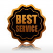 Best service in black starlike label — Stock Photo