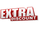 Extra discount red white banner - letters and block — Stock Photo