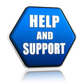 Help and support in hexagon button — Stock Photo