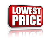 Lowest price in red banner — Stock Photo