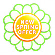 New spring offer green orange flower label - Stock Photo