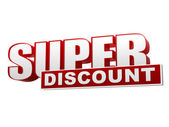 Super discount red white banner - letters and block — Stockfoto
