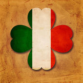 Irish flag in shamrock old paper background — Foto Stock