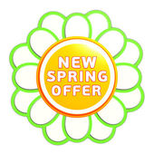New spring offer green orange flower label — Stock Photo