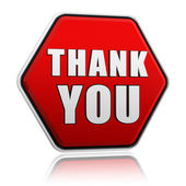 Thank you in red hexagon banner — Stock Photo