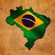 Stock Photo: Brazilimap with flag