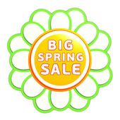 Big spring sale green orange flower label — Stock Photo