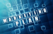 Marketing plan in blue glass cubes — Stock Photo