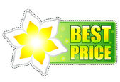 Best price green label with spring flower — Stock Photo